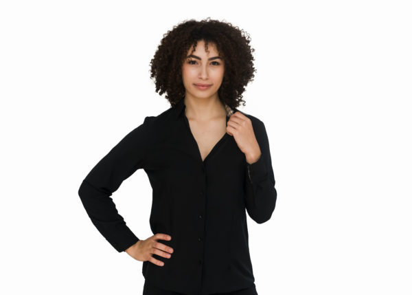Women's Black Long Sleeve Adaptive Blouse